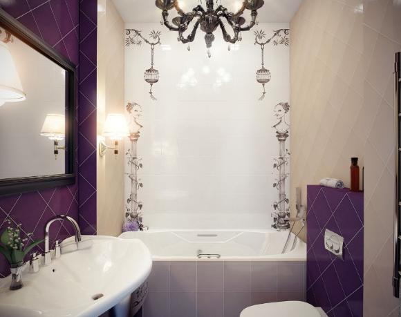 Ванная комната с фиолетовыми элементами