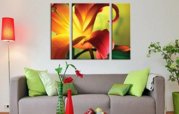 Картины ярких тонов в гостиной и зале