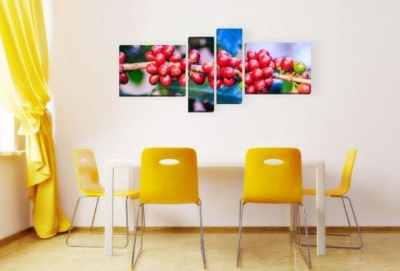 Сочные фрукты на модульной картине в кухне