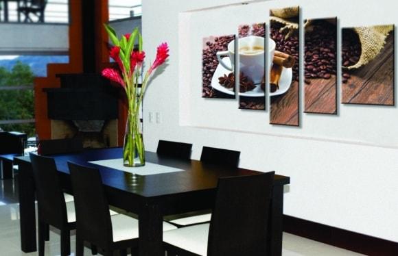 Варианты расположения картин из нескольких частей на кухне