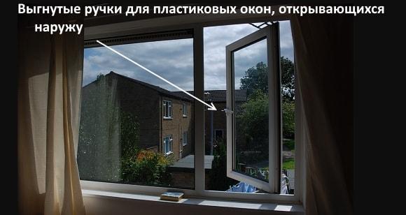 Выгнутые ручки для пластиковых окон, открывающихся наружу