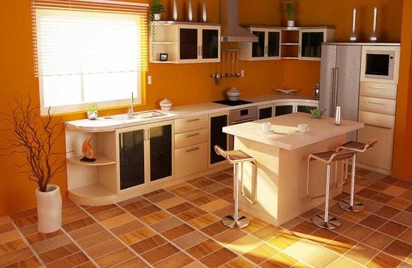 Цветной линолеум на кухне на полу