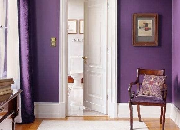 Фиолетовые стены и белые плинтуса