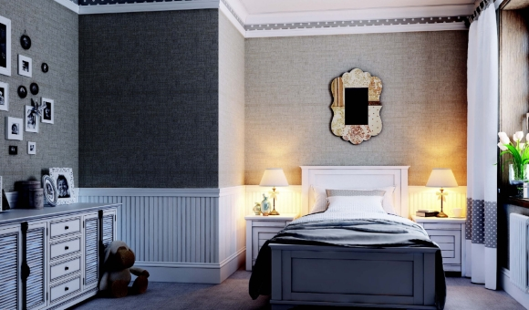 Светлый плинтус в спальне