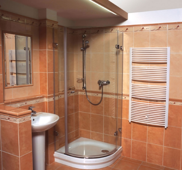 Фото совмещенной ванной и туалета с душевой кабиной
