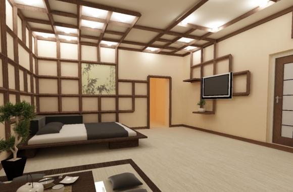 Ламинат оттенка бамбук в интерьре японского стиля