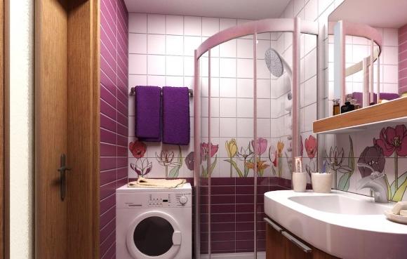 Полукруглая душевая кабина в ванной