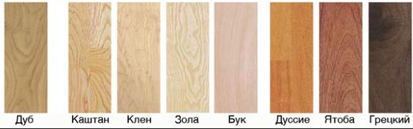 Сорта древесины паркета