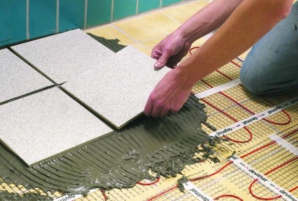 Укладка плитки на теплый пол в разрезе