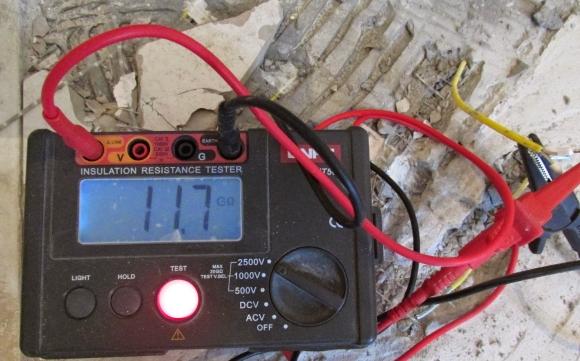 Замер сопротивления греющего кабеля