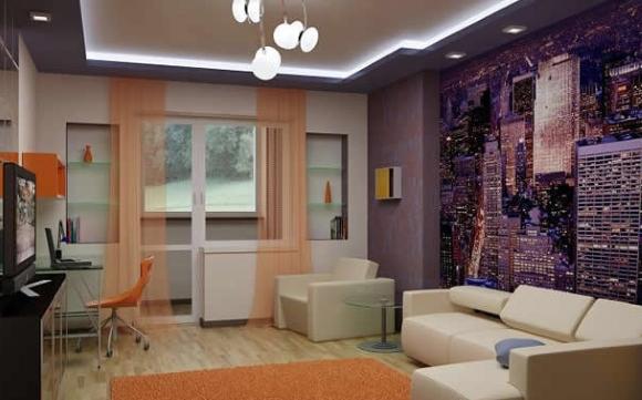 Двойной потолок в гостиной