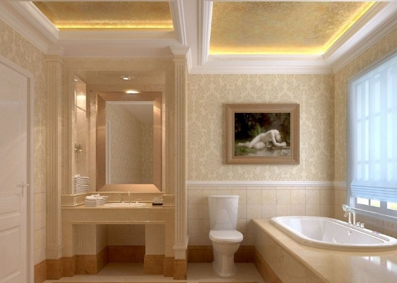 Двухуровневый потолок из гипсокартона в ванной