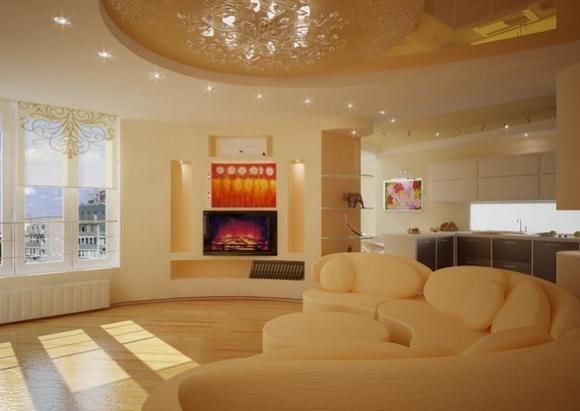 Двухуровневый потолок с точечными светильниками из гипсокартона