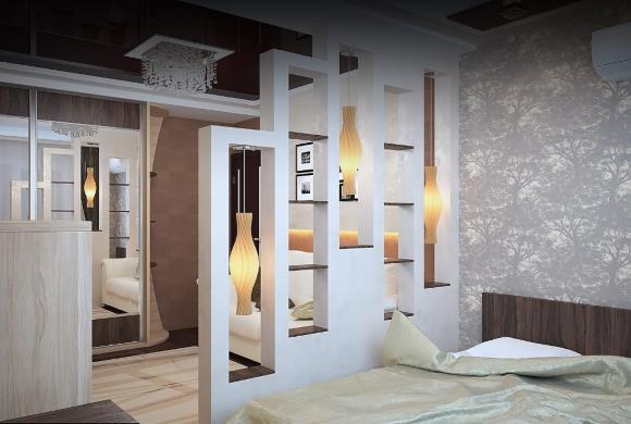 Гипсокартонная перегородка в гостинной с полочками