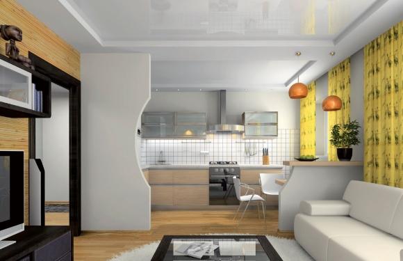 Гипсокартонная перегородка в кухне