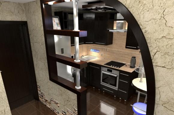 Перегородка между кухней и прихожей