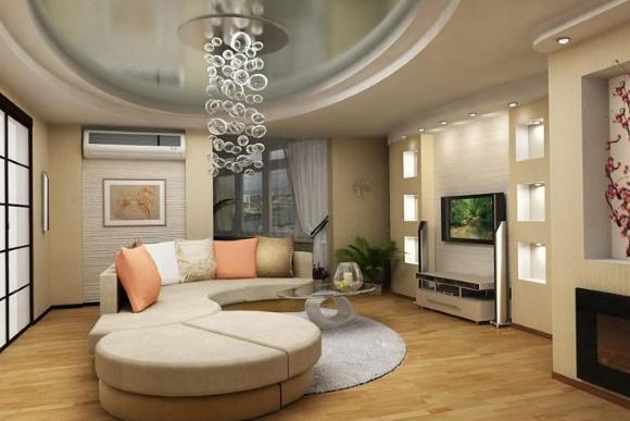 Полукруглый двухуровневый потолок в гостиной