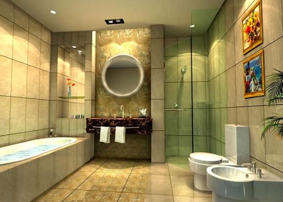 Пример дизайна двухуровневого потолка в ванной