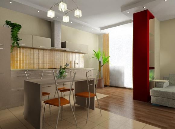 Пример дизайна двухуровневого потолка в кухне