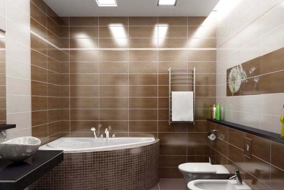 Ванная комната коричневая с джакузи