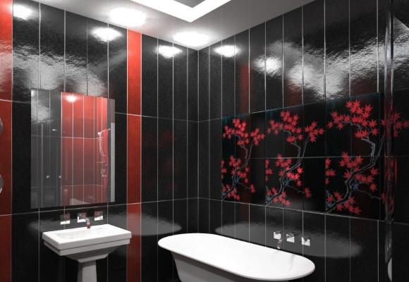 Ванная обшитая черными панелями
