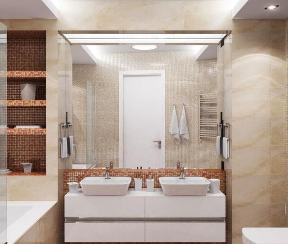 Накладные раковины на столешницу сверху в ванной с тумбой