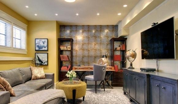 Фото модульной мебели с рабочей зоной для гостиной в современном стиле