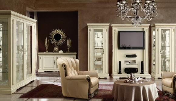 Фото современной светлой модульной мебели для гостиной комнаты