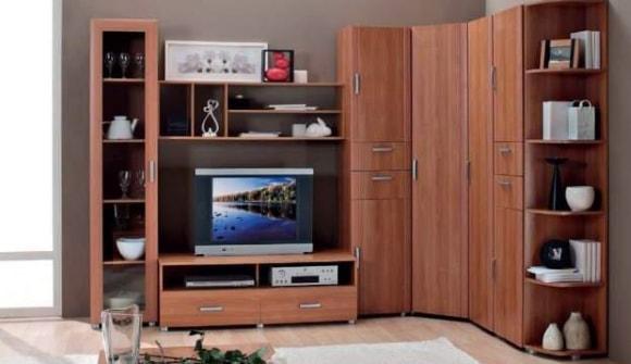 Мебель модульной системы для гостиной с угловым шкафом