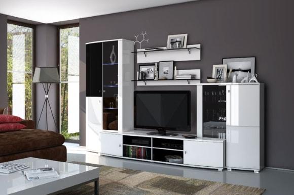 Модульная мебель белого цвета в гостиной
