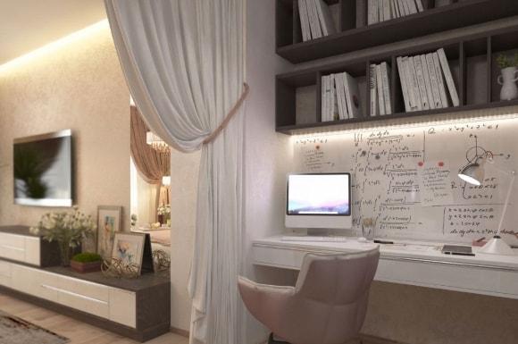 Письменный столик в составе модульной композиции гостиной