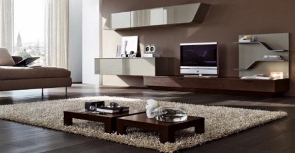 Подвесная модульная мебель для современной гостиной