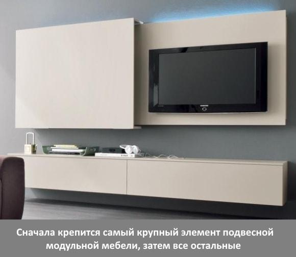 Сначала крепится самый крупный элемент подвесной модульной мебели, затем все остальные