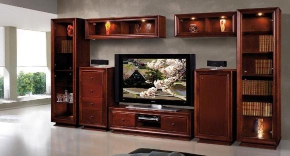 Современная модульная мебель для гостиной из массива дерева