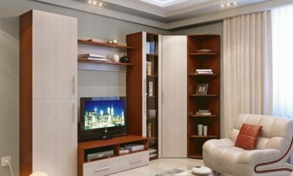 Современная модульная мебель для гостиной с угловым шкафом