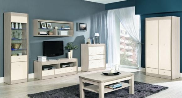 Светлая модульная мебель для гостиной в современном стиле