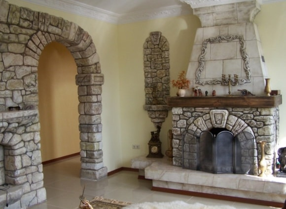 Декоративная отделка стен в квартире под камень фото