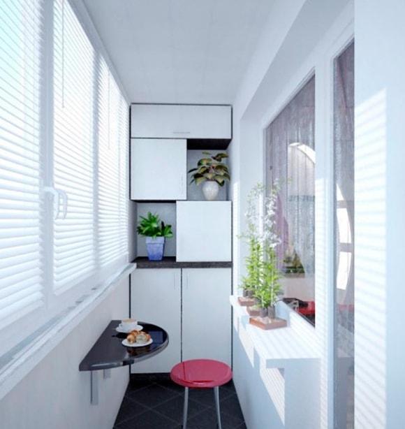 Идеи расположения обеденной зоны на балконе фото