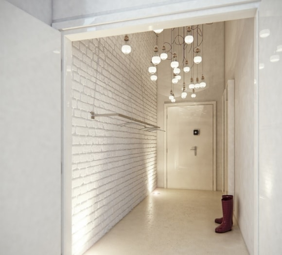 Отделка коридора декоративным камнем фото