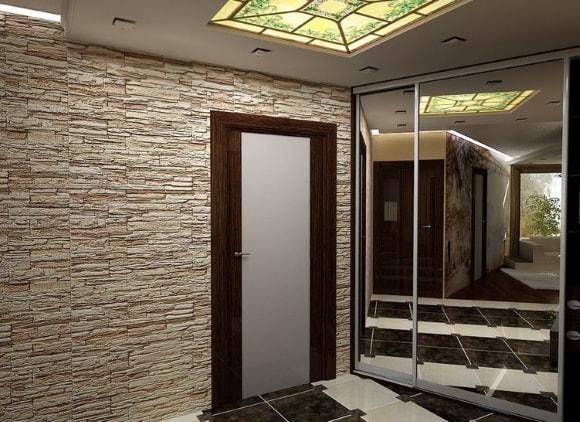 Отделка коридора облицовочным камнем