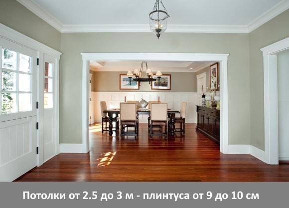 Потолки от 2.5 до 3 м - плинтуса от 9 до 10 см
