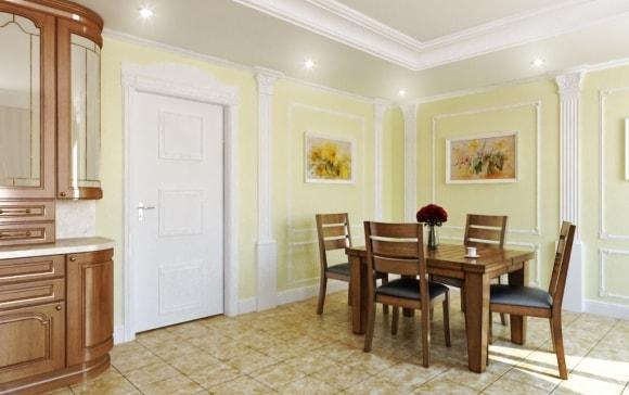 Широкие полиуретановые плинтуса на полу в интерьере кухни