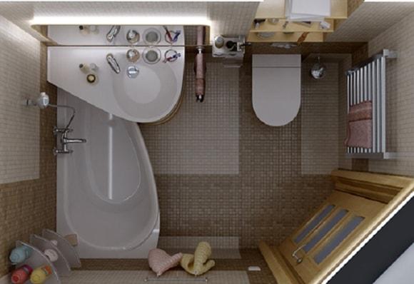 Дизайн треугольной ванной комнаты