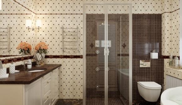 Душевая кабина с туалетом без ванны в ванной комнате