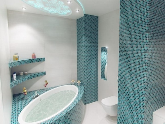 Разновидности отделки ванной комнаты плиткой мозаикой