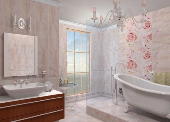 Вариант отделки ванной комнаты пластиковыми панелями