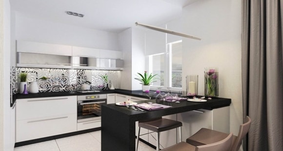 Современные идеи дизайна интерьера кухни 2018 года с барной стойкой