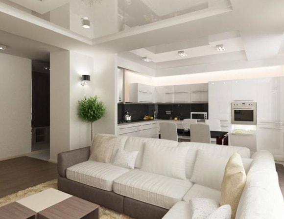 Вариант дизайна совмещённой кухни с залом