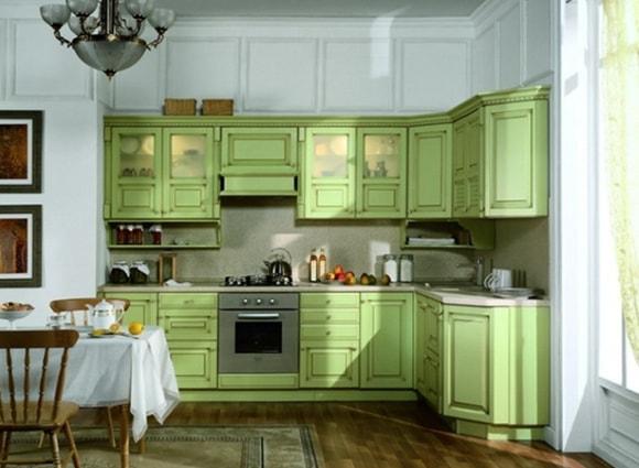 Дизайн кухни фисташкового оттенка
