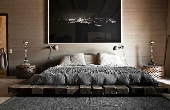 Кровать в интерьере стиля лофт